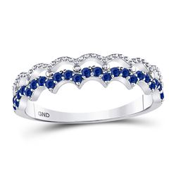 1/4 CTW Round Blue Sapphire Scalloped Stackable Ring 10kt White Gold - REF-13K2R
