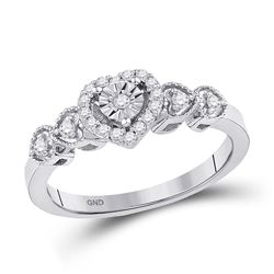1/5 CTW Round Diamond Heart Ring 10kt White Gold - REF-20T3K