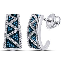 1/10 CTW Round Blue Color Enhanced Diamond Half J Hoop Earrings 10kt White Gold - REF-20F3M