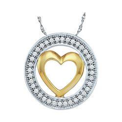 1/10 CTW Round Diamond Encircled Heart Pendant 10kt Two-tone White Gold - REF-9W3F