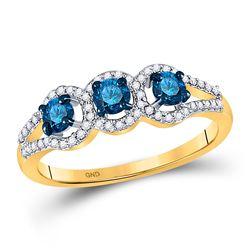 5/8 CTW Round Blue Color Enhanced Diamond 3-stone Bridal Wedding Ring 10kt Yellow Gold - REF-30X3T