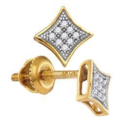 1/20 CTW Round Diamond Square Kite Cluster Screwback Earrings 10kt Yellow Gold - REF-5F9M
