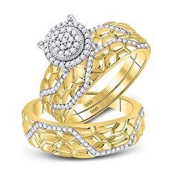 3/8 CTW His & Hers Round Diamond Cluster Matching Nugget Bridal Wedding Ring 10kt Yellow Gold - REF-