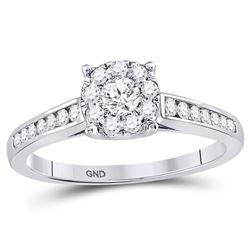 1/2 CTW Round Diamond Solitaire Bridal Wedding Engagement Ring 14kt White Gold - REF-47N9Y