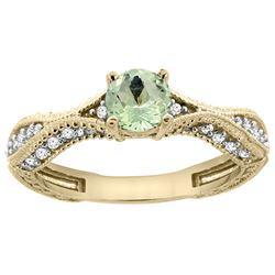0.67 CTW Amethyst & Diamond Ring 14K Yellow Gold - REF-67N7Y