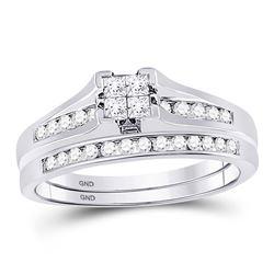 1/2 CTW Princess Diamond Bridal Wedding Engagement Ring 14kt White Gold - REF-38F3M