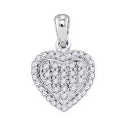 1/4 CTW Round Diamond Heart Cluster Pendant 10kt White Gold - REF-14T4K