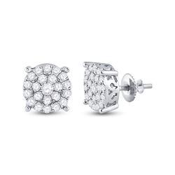 1 & 1/2 CTW Round Diamond Cluster Earrings 10kt White Gold - REF-77X9T