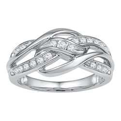 1/4 CTW Round Diamond Woven Knot Strand Ring 10kt White Gold - REF-30K3R