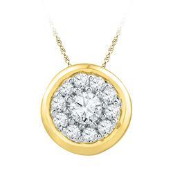 1/4 CTW Round Diamond Cluster Pendant 10kt Yellow Gold - REF-16H8W