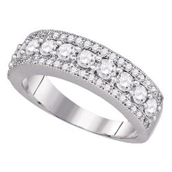 1 CTW Round Pave-set Diamond Symmetrical Parallel Ring 14kt White Gold - REF-90R3H