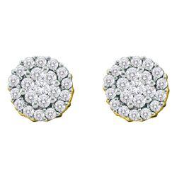 3/4 CTW Round Diamond Flower Cluster Screwback Earrings 14kt Yellow Gold - REF-45H6W