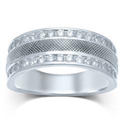 1 CTW Mens Round Diamond Double Row Textured Wedding Ring 14kt White Gold - REF-117H3W