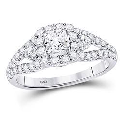 1 & 1/4 CTW Princess Diamond Halo Bridal Wedding Engagement Ring 14kt White Gold - REF-132H3W