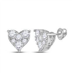 1/3 CTW Round Diamond Heart Earrings 14kt White Gold - REF-28K8R