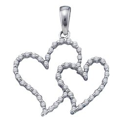 1/6 CTW Round Diamond Double Outline Heart Pendant 10kt White Gold - REF-10F2M