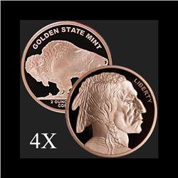 2 oz Buffalo .999 Fine Copper Bullion Round