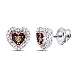 1/5 CTW Round Brown Diamond Heart Earrings 10kt Two-tone Gold - REF-21H5W