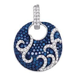 1 CTW Round Blue Color Enhanced Diamond Circle Pendant 10kt White Gold - REF-39N6Y