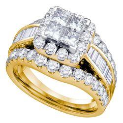 3 CTW Princess Diamond Halo Cluster Bridal Wedding Engagement Ring 14kt Yellow Gold - REF-239H9W