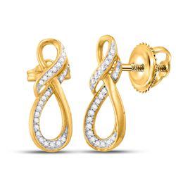 1/6 CTW Round Diamond Fashion Earrings 10kt Yellow Gold - REF-11T9K