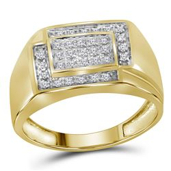 1/4 CTW Mens Round Diamond Rectangle Cluster Ring 10kt Yellow Gold - REF-27F5M