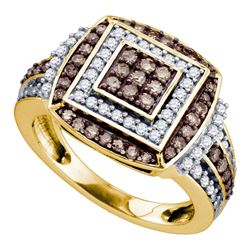 1 CTW Round Brown Diamond Square Cluster Ring 10kt Yellow Gold - REF-54N3Y