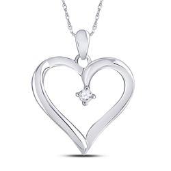 1/20 CTW Round Diamond Solitaire Heart Pendant 10kt White Gold - REF-9X3T