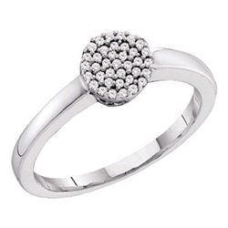 1/8 CTW Round Diamond Cluster Ring 10kt White Gold - REF-11N9Y