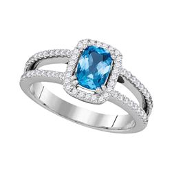 1 & 1/5 CTW Oval Blue Topaz Solitaire Diamond-accent Ring 14kt White Gold - REF-64W8F