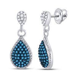 1/2 CTW Round Blue Color Enhanced Diamond Teardrop Dangle Earrings 10kt White Gold - REF-21Y5X