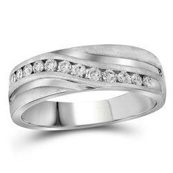 1 CTW Mens Round Diamond Wedding Ring 10kt White Gold - REF-111K3R