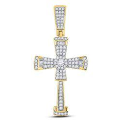 1/2 CTW Mens Round Diamond Flared Cross Crucifix Charm Pendant 10kt Yellow Gold - REF-26T3K