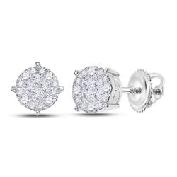 2 CTW Princess Round Diamond Cluster Earrings 14kt White Gold - REF-167Y9X
