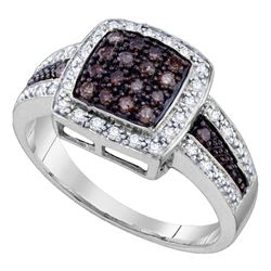1/2 CTW Round Brown Diamond Square Cluster Ring 10kt White Gold - REF-27K3R