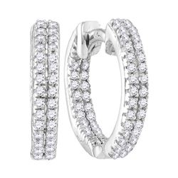 1/5 CTW Round Diamond Hoop Earrings 10kt White Gold - REF-13A2N
