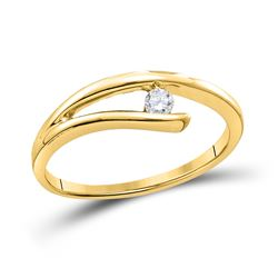 1/10 CTW Round Diamond Solitaire Promise Bridal Ring 14kt Yellow Gold - REF-15A5N