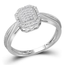 1/10 CTW Round Diamond Square Frame Cluster Tapered Shank Ring 10kt White Gold - REF-14Y4X