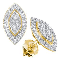 1/5 CTW Round Diamond Cluster Oval Stud Earrings 10kt Yellow Gold - REF-15F5M