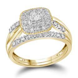 1/3 CTW Round Diamond Square Halo Bridal Wedding Engagement Ring 10kt Yellow Gold - REF-35R9H