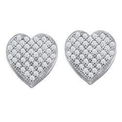 1/4 CTW Round Diamond Heart Earrings 10kt White Gold - REF-16X8T