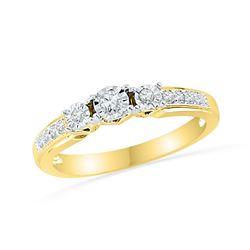 1/5 CTW Round Diamond 3-stone Bridal Wedding Engagement Ring 10kt Yellow Gold - REF-21F3M