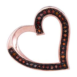 1/10 CTW Round Red Color Enhanced Diamond Heart Pendant 10kt Rose Gold - REF-11K9R