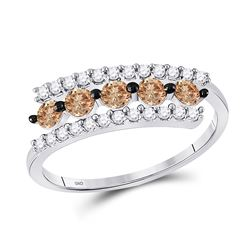 5/8 CTW Round Brown Diamond Triple Row Ring 10kt White Gold - REF-18X3T