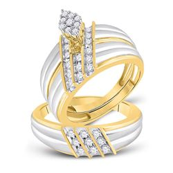 3/4 CTW His & Hers Round Diamond Cluster Matching Bridal Wedding Ring 14kt Two-tone Gold - REF-90A3N