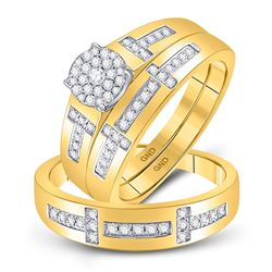 1/2 CTW His & Hers Round Diamond Cluster Matching Bridal Wedding Ring 10kt Yellow Gold - REF-60Y3X
