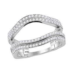 3/4 CTW Round Diamond Wrap Ring 14kt White Gold - REF-87N5Y