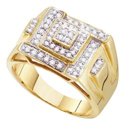 1/2 CTW Mens Round Diamond Square Cluster Ring 10kt Yellow Gold - REF-39W3F