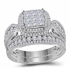 1 & 1/2 CTW Princess Diamond Bridal Wedding Engagement Ring 14kt White Gold - REF-107X9T