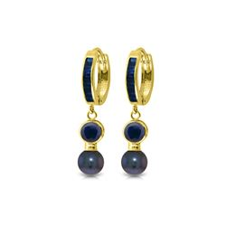 Genuine 4.65 ctw Sapphire & Black Pearl Earrings 14KT Yellow Gold - REF-54A6K